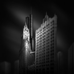 FLUID TIME IV  Stopping Time (Julia-Anna Gospodarou) Tags: blackandwhite chicago monochrome architecture us unitedstates trumptower wrigleybuilding 2013 photographydrawing 5dmk3 fineartarchitecturalphotography juliaannagospodarou envisionography artistjuliaannagospodarouinfo fluidtimev