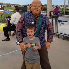 #Malikai isn't too sure about the idea of him being sold into slavery by Frak, the Ferengi. #SkySox #StarTrek night. / on Instagram http://instagram.com/p/q8h2PWsmh9/