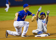 Travis Wood slides ahead of David Wright's tag (Michael G. Baron) Tags: new york chicago major baseball cubs mets league