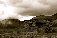 Great Gable Shelter (D Johnson1922) Tags: sky lake mountains water monochrome landscape moody cloudy lakes overcast scafell shelter wastwater wasdale greatgable
