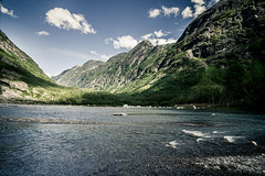 Jostedals glasier (mbernholdt) Tags: blue sky snow mountains green ice nature norway river landscape norge no hills foss ise fjell 2014 glasier bræ jostedals norge2014 jostedalsglasier