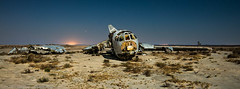 Crash Landing on Planet Claire (dejavue.us) Tags: california longexposure nightphotography lightpainting abandoned airplane nikon desert aircraft fullmoon nikkor quantum mojavedesert b52 d800 entanglement 1835mmf3545d vle