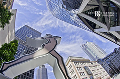 City of London Skyscrapers (david gutierrez [ www.davidgutierrez.co.uk ]) Tags: city uk blue sky urban sculpture building london tower art architecture clouds photography skyscrapers perspective surreal fisheye highrise gherkin cityoflondon herontower davidgutierrez pentaxk5
