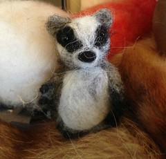 miniature needle felted badger looking for a new home
