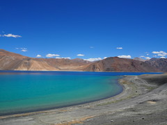 Pangong Tso-Ladakh-Jammu Kashmir-India (mikemellinger) Tags: blue india lake mountains water beauty landscape amazing scenery colorful north hills clear stunning huge kashmir tso barren himalayas ladakh jammu pangong vast pangongtso lineofcontrol highalititude innerlinepermit