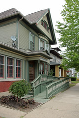House - Urbana, OH (Pythaglio) Tags: county wood windows ohio house tree window anne ramp dish satellite shingles wheelchair victorian 11 historic queen sidewalk porch frame urbana champaign siding residence twostory bushes gable addition enclosed dwelling bargeboards shingled tripartite strapwork