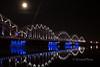 Railway bridge (KronaPhoto) Tags: bridge blue light moon water night train river mirror railway latvia bro riga natt vann tog måne speil elv jernbane