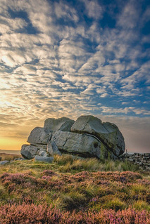 Sunset. Hitching Stone, Keighley Moor, West Yorkshire, UK
