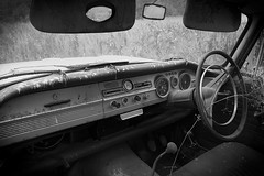 Dashboard (Curl66) Tags: old rotting monochrome car canon vintage photography scotland blackwhite cabin transport wideangle vehicle inside dashboard moray hillmansuperminx