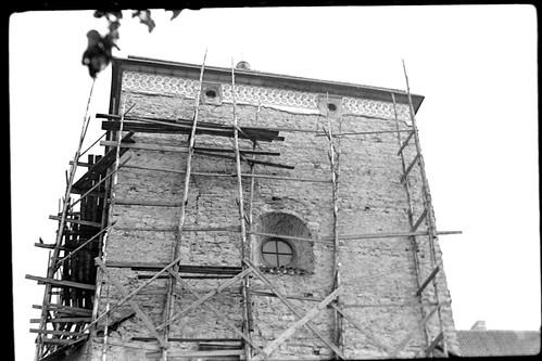 Zamek Szydłowiecki w remoncie, lata 80-te, XXw.
