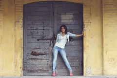 The door (PinkPetra) Tags: autumn woman fall fashion female outside outfit model outdoor indoor denim farmer curl 3p 2014 pinkpetra pinkpetraphoto pinkpetraphotography horvthpetra
