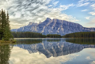Mount Rundle in Two Jack Lake