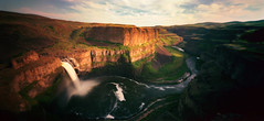 Palouse Falls (Zeb Andrews) Tags: sunset panorama film analog landscape washington pano pinhole palouse holgawpc