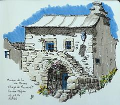 Maison du village de Rouveret (Jean-Paul Rivière) Tags: ink sketch eu encre croquis lozere