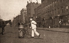 'white wings' street cleaner at work in NYC - 1913 (SSAVE w/ over 7 MILLION views THX) Tags: newyorkcity 1913 sanitation streetcleaning whitewings streetsweeper