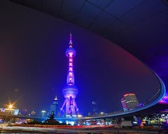Shanghai - Pearl Tower (cnmark) Tags: china shanghai pearl orient pearloftheorient tv tower building night bright colored coloured light nacht nachtaufnahme noche nuit notte noite roundabout circle 东方明珠 东方明珠电视塔 ©allrightsreserved traffic trails busy longexposure langzeitbelichtung
