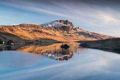 Sunrise on the Storr (KH748) Tags: isleofskye oldmanofstorr scotland thestorr clouds cottage hills island landscape lochan mountains reflections rocks shadows snow sunrise trees water