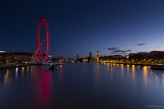 London Lights. (dasanes77) Tags: canoneos6d canonef1635mmf4lisusm tripod landscape cityscape cloudscape waterscape bluehour sky lights londoneye longexposure water bigben reflections shadows london city architecture calm