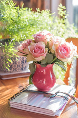 Life is a bowl of roses..(today). (Velmerc) Tags: stilllife roses flower floral notebook fern home house light window domestic bliss