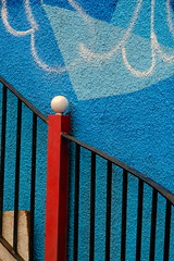 Seeing Red (The Green Album) Tags: graffiti bristol paint design abstract railings handrail blue red post colourful