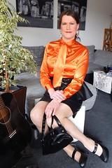 Orange Bow Blouse (Rikky_Satin) Tags: satin silk blouse leather skirt highheels pumps pussy bow handbag crossdresser crossdressing transvestite transgender tgirl tranny pencil tight secretary office fashion enfemme feminine elegance lady glam
