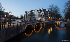 Amsterdam. (alamsterdam) Tags: amsterdam northholland keizersgracht longexposure evening reflection architecture facades bridges lights