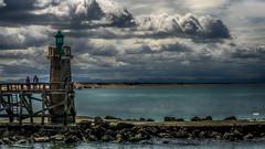 Pier and clouds (Fred&rique) Tags: lumixfz1000 photoshop hdr jetée pier capbreton nuages clouds ciel sky océan eau waterfront