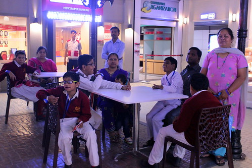 KidZania Tour for Kids with disabilities:The kids at the end of the tour happily discussing their day.