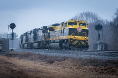 Gloomy Heritage (marko138) Tags: 22w emd ns1069 newport norfolksouthern prrpositionlights prrsignals pt131 perrycounty pittsburghline sd70ace spring virginian fog heritageunit intermodal locomotive middledivision pennsylvania railfan railroad railroadphotography rain train