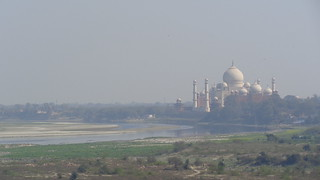 Taj Mahal and the Yamuna River from Agra Fort
