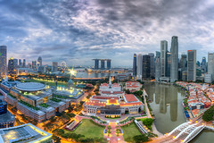 Dramatic City (Mabmy) Tags: city morning house colors clouds sunrise canon buildings court reflections town singapore skies gloomy cityhall dramatic sigma parliament cbd 12mm hdr supreme 1224 1dx