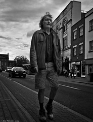 Painters Progress (Neil. Moralee) Tags: street uk wild sky bw white man black monochrome silhouette work hair walking nikon boots pov candid low pda hard neil somerset semi mature painter shorts lush taunton decorator cutoffs d7100 moralee
