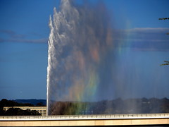 The fountain and the rainbow (Lesley A Butler) Tags: fountain australia excellent canberra act lakeburleygriffin captaincookmemorialfountain