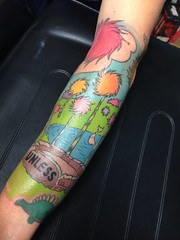 dr. sues lorax half sleeve tattoo by Wes Fortier - Burning Hearts Tattoo Co. 1430 Meriden Rd.  Waterbury, CT
