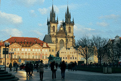 Like a painting (silviabonanno1234) Tags: color church architecture canon painting square opera prague drawing praha praga quadro chiesa piazza architettura dipinto