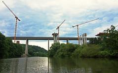 Bridges #4 (Lutz Koch) Tags: bridge sky water river wasser hessen crane himmel autobahn baustelle a3 brcke fluss kran lahn limburg bab lahntal lahntalbrcke elkaypics lutzkoch