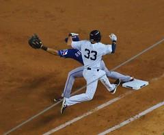 Out By an Eyelash (Brule Laker) Tags: baseball bronx texasrangers yankeestadium newyorkyankees mlb americanleague