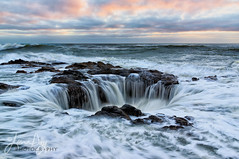With a Vengeance (jeandayphotography.com) Tags: ocean sunset sea usa seascape color water rock clouds oregon landscape coast surf pacific or tide volcanic seashore yachats jeanday thorswell wwwjeandayphotographycom
