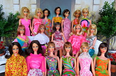 (19) Mod Barbie Collection (Foxy Belle) Tags: colors turn vintage hair living doll bright group barbie twist fair retro collection flip 1960s 1970s tnt groovy fashions talker marlo