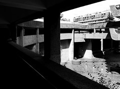 Highwalk (The Relevant Authorities) Tags: bw london architecture concrete thecity barbican brutalism highwalk
