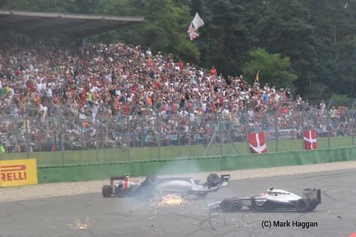 Felipe Massa crashes at the start of the 2014 German Grand Prix