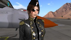 Stern (alexandriabrangwin) Tags: world new woman hat leather female computer captains 3d graphics shiny uniform fighter desert pants aircraft military hangar jet rubber jacket secondlife virtual latex airforce russian recruits eyepatch pvc cgi airfield instructor dominating incharge commanding alexandriabrangwin