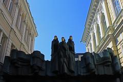 Off to the movies (R.i.c.a.r.d.o.) Tags: door sky cinema building art europe theatre perspective entrance statues drama lithuania vilnius lithuanian