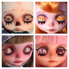 I like very much drawing different things into Blythe's eyelids.What do you prefer simple eyelids or illustrated eyelids?