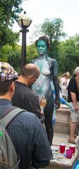 Body Painting Project (UrbanphotoZ) Tags: nyc newyorkcity woman ny newyork nude artist centralpark manhattan decorative bodypaint lamppost painter upperwestside columbuscircle andygolub nybpd youngnaturalistsandnudists