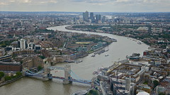 Tower Bridge, The Thames and Docklands, viewed from The Shard, London (sbally1) Tags: city london thames towerbridge river view docklands canarywharf shard