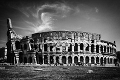 Colisseum & Cloud (Sophie Carr Photography) Tags: bw italy rome mono blackwhite icon colisseum colosseo
