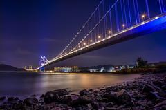 Tsing Ma Bridge (mikemikecat) Tags: bridge landscape hongkong voigtlander nightview tsingma tsingmabridge saitsowan vm21 西草灣