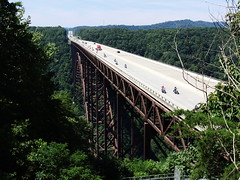 New River Gorge Bridge and Rapids (Jim Mullhaupt) Tags: road bridge wild summer vacation holiday water sport danger river high nikon highway flickr rapids rafting westvirginia coolpix jumper raft bungy overlook newrivergorge us19 p510 mullhaupt jimmullhaupt