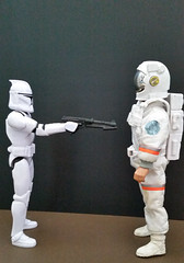 Identify Yourself. (Man of Yorkshire) Tags: trooper star starwars model gun astronaut plastic unknown spaceman wars clone identify imposter actionaman